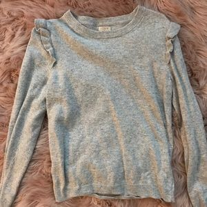Grey Jcrew ruffle shoulder sweater
